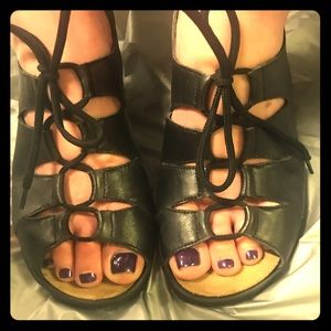Black leather laceup rieker brand sandals